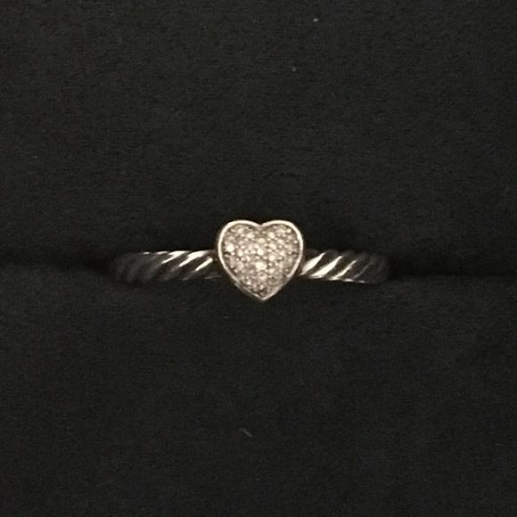e4baa3849e7b86 David Yurman Jewelry - David Yurman Petite Pave Heart Ring - Size 8